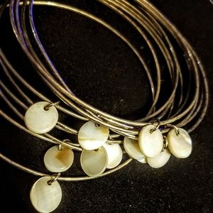 Vintage silver tone and mother of pearl bracelets